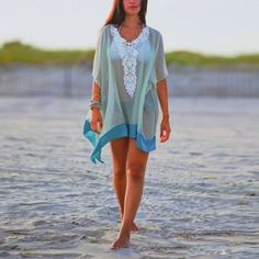 Vestido Mini Bikini gasa playa-azul