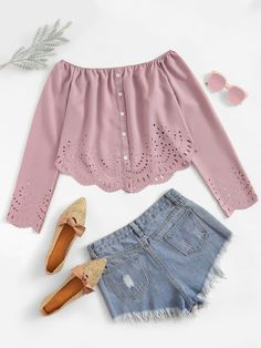 Laser Cut Scallop Hem Off The Shoulder BlouseFor Women-romwe Teen Fashion Outfits, Outfits For Teens, Girl Outfits, Casual Outfits, Fashion Women, High Fashion, Fashion Dresses, Cute Summer Outfits, Pretty Outfits