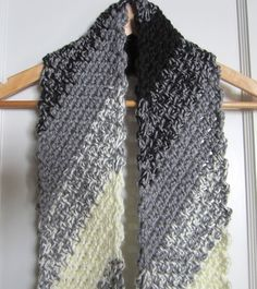 A New Scarf . . . Diagonal Crochet-In Black, Grey and White | G-Ma ...