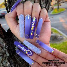 Classy Acrylic Nails, Purple Acrylic Nails, Summer Acrylic Nails, Best Acrylic Nails, Acrylic Nail Designs, Nail Designs Bling, Bling Nails, Swag Nails, Stiletto Nails