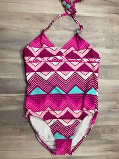 OLD NAVY Girl's halter bathing swim suit geometric print size large 10-12    eBay