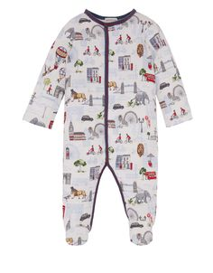 Safari meets city in the charming print of our Lennon sleepsuit and bib set for newborns. Showcasing lions and elephants among iconic London landmarks, this ...