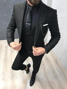 Vental Black Slim Fit Suit GentWith is part of Suits Collection Spring Summer 19 Product SlimFit Suit Color Code Black Size 464850525456 Suit Material wool, polyester, lycra Machine W - Slim Fit Tuxedo, Tuxedo Suit, Tuxedo For Men, Fitted Suit, Tailored Suits, Mens Fashion Suits, Mens Suits, Mens Slim Fit Suits, Groom Suits