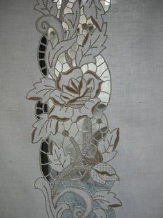 cutwork embroidery | Rose Grey Thread Hand Embroidery Cutwork Cotton Doily Placemat - Google Search - Pesquisa Google