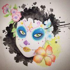 #calavera #mexican #inspiration #watercolor #painting #xlrosa