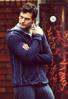 Jamie Dornan as Christian Grey on the set of Fifty Shades of Grey movie