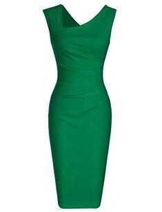 cd7d149b05d0 MUXXN Lady Celebrity Halloween Style Tea Length Evening Cocktail Bodycon  Dress (Green M) Womens