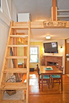 The ladder, although too bulks for a tiny house, can be scaled down. I'm considering this design on casters.