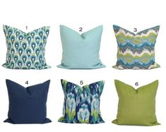 Pillow Covers As Seen on HGTV & in Good Housekeeping by ElemenOPillows Small Pillow Covers, Green Pillow Covers, Small Pillows, Teal Throw Pillows, Green Pillows, Throw Pillow Cases, Blue Throws, Shades Of Teal, How To Make Pillows