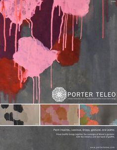 Porter Teleo's 2013 release on a hand-painted wallpaper pattern, Floral Graffiti.