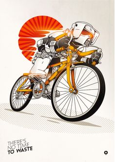 very nice illustration here the simple colors combined with the sharp background red and bronze gold to the bike really make it jumo off the page Bike Illustration, Graphic Design Illustration, Graffiti, Bicycle Art, Poster S, Arte Pop, Cycling Art, Illustrations, Animation
