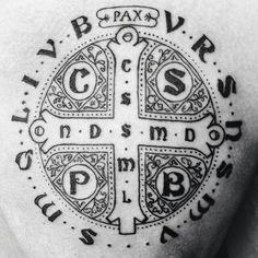 Black Tattoos, New Tattoos, Small Tattoos, Tatoos, Catholic Tattoos, Religious Tattoos, St Benedict Cross, Hebrew Tattoo, Christian Tattoos