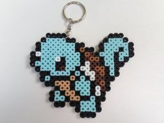 Squirtle pixel bead sprite keychain : by SillyBillyBullcrap