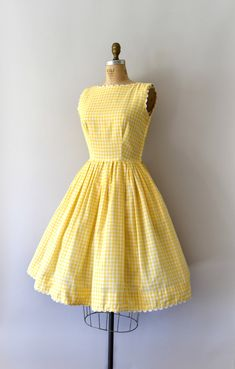 Vintage 1950s Lanz sundress, bright yellow gingham cotton body with white ric-rac trim. Fitted bodice, scoop neck, tank style shoulders, fitted