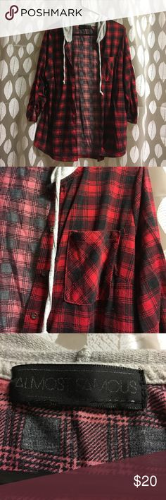 Flannel Hoodie Worn, is pilled but still in good and comfy condition! This is designed to look like flannel but it is not actual flannel material. There is no listed size but it best fit a medium. Please feel free to ask questions and/or offer! NOT Hot Topic just tagged for exposure, real brand is Almost Famous. Hot Topic Tops Sweatshirts & Hoodies