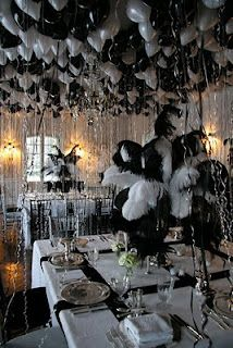Black and white balloon decorations