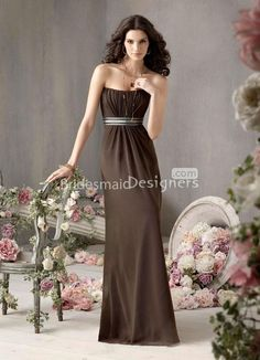 b87f38673456 strapless  chocolate  chiffon  bridesmaid  dress floor length a-line empire.