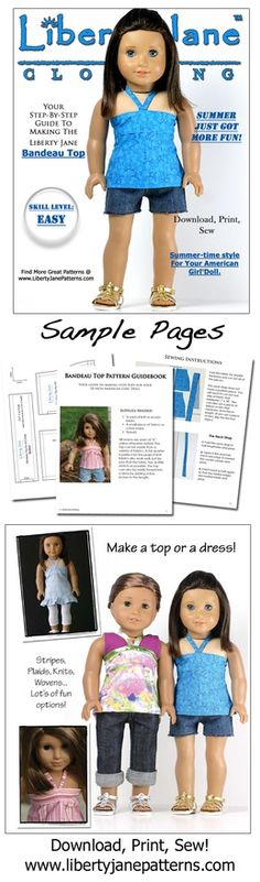 Spring and Summer style for your American Girl Doll! Bandeau tops and dresses are quick and easy to make. Re-purpose your daughters outgrown clothes and give her doll a fun new wardrobe :)