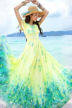 Cool Summer Bohemia Style Holiday Maxi Dress Maximum Style