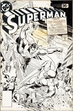 Original and final cover art by Jose Luis Garcia-Lopez from Superman published by DC Comics, April Comic Book Pages, Comic Book Artists, Comic Book Covers, Comic Books Art, Superman Comic Books, Comic Book Heroes, Comic Art Fans, Comic Book Storage, Garcia Lopez