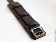 Браслеты ручной работы. Кожаные браслеты с пряжками. ZX-leather. Ярмарка Мастеров. Коричневый браслет, натуральная кожа