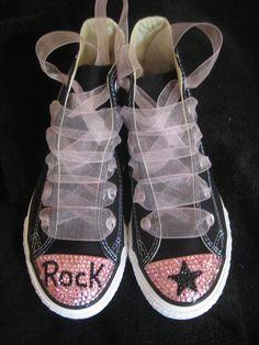 50d44bd14c34 FREE SHIP Custom Converse Rock star Bling Rhinestone Swarovski Crystal  shoes toddler Glamour Toes.
