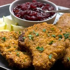 We very seldom eat crumbed, deepfried food, but this recipe is so delicious and prevents all the problems associated with crumbed food. Pork Recipes For Dinner, Pork Chop Recipes, Meat Recipes, Food Processor Recipes, Cooking Recipes, South African Recipes, Ethnic Recipes, Pork Loin Chops, Healthy Family Meals
