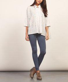 Keungzai: White Dolman-Sleeve Printed Silk-Blend Shirt