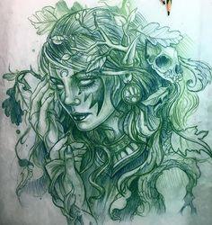 Эскиз татуировки с девушкой
