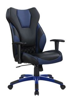 Coaster 801468 Cassington II collection black and blue leatherette upholstered high back office chair with casters