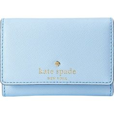 Kate Spade New York Cedar Street Darla Wallet ($78) ❤ liked on Polyvore featuring bags, wallets, blue, fold over bag, blue bag, snap wallet, kate spade and hardware bag