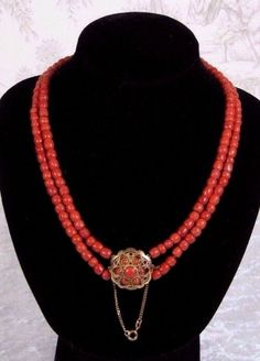 52Gr. Antique Genuine Natural Undyed Red Coral Double Strand 14K Clasp Necklace