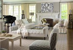 Elegant Transitional Living Room by Lauren Muse
