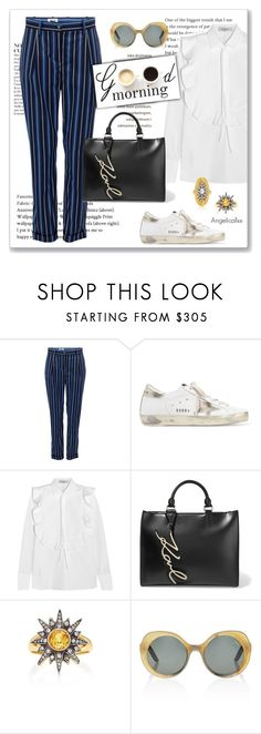 """""""Good Morning!!"""" by angelicallxx ❤ liked on Polyvore featuring Anja, Baum und Pferdgarten, Golden Goose, Karl Lagerfeld, Arman Sarkisyan and whitesneakers"""