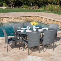 Outdoor Delani 7-piece Wicker Dining Set by Christopher Knight Home (Grey), Size 7-Piece Sets, Patio Furniture (Iron)