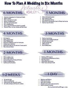 6 Month Wedding Planning Timeline wedding checklist Wedding Planning: How to Plan a Wedding in SIX Months The Plan, How To Plan, Plan Plan, Before Wedding, Wedding Tips, Wedding Events, Wedding Quotes, Wedding Costs, Small Wedding Receptions
