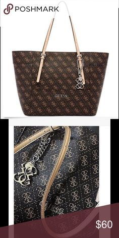 GUESS Tote Guess Signature Brown Tote. Gently used in excellent shape, see my matching wallet! I will make a deal if you purchase both! Bags Totes