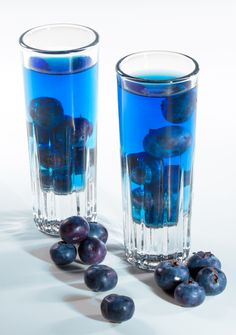 Blue Lagoon Cocktail with blueberries