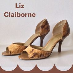 """Leather Snakeskin Print Peep-toes Super cute and very trendy. Leather uppers with colors from light tan to dark brown. Excellent condition!!!  3"""" heels. Elastic in the inside of heel area for a sure fit.  Price is firm plz. Liz Claiborne Shoes Heels"""