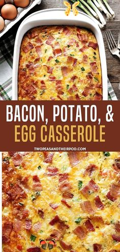 An easy breakfast casserole with bacon, potatoes, and eggs that is a sure crowd pleaser! This brunch recipe is the perfect way to spend your busy weekdays deliciously. Bake this easy recipe for the kids!<br> Overnight Breakfast Casserole, Breakfast And Brunch, Breakfast Dishes, Hashbrown Breakfast, Breakfast Potatoes, Recipe For Breakfast Casserole, Breakfast Recipes With Eggs, Brunch Egg Casserole, Brunch Egg Dishes