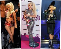Her Gaganess in a glistening crop top and mini-skirt at the MTV EMAs