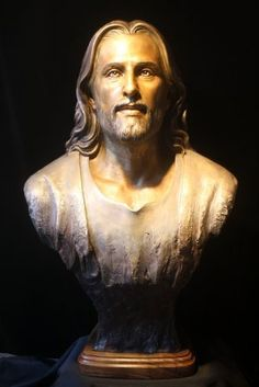 """Artist Sunti Pichetchaiyakul  Using photographs of a three-dimensional computer generated model of the sacred Shroud of Turin, produced by computer graphics artist Ray Downing (see the History Channel), Sunti re-produced the structural contours and facial muscles of the holy Jesus of Nazareth in bronze. Jesus of Nazareth, Legends of the World 31"""" x 20"""" x 12"""" http://suntiworldart.com/legends-of-the-world.html"""