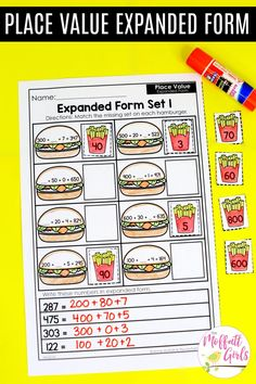Place Value Expanded Form- Cut and paste worksheet to practice place value in Grade. Expanded Form Math, Expanded Form Worksheets, 2nd Grade Worksheets, Printable Math Worksheets, Parts Of Speech Worksheets, Place Value Worksheets, Cut And Paste Worksheets, Second Grade Teacher, Third Grade Math