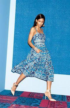 Taylor Dresses Print Cotton Voile Midi Dress