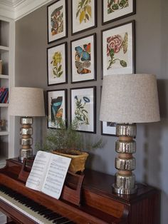 Right up my alley: Art above the piano prints from http://www.amazon.com/Botanicals-Butterflies-Leslie-K-Overstreet/dp/275940269X/ref=sr_1_1?ie=UTF8&qid=1383588478&sr=8-1&keywords=BOTANICALS+by+Assouline