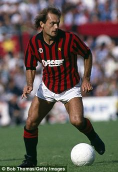 Ray Wilkins gets on the ball in a game against Udinese at the San Siro in 1984