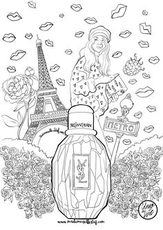 Mademoiselle Stef - Blog Mode, Dessin, Paris | Coloriage : parfum Parisienne Yves Saint Laurent | http://www.mademoisellestef.com