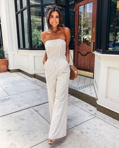 Casual chic off the shoulder striped jumpsuit.