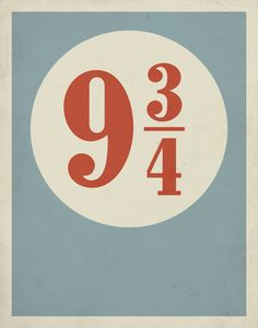 """Minimalist poster: Harry Potter """"Platform 9 3/4 poster by Entropy Trading Company Etsy shop."""""""