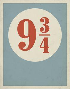 Platform 9 3/4 poster by Entropy Trading Company Etsy shop.